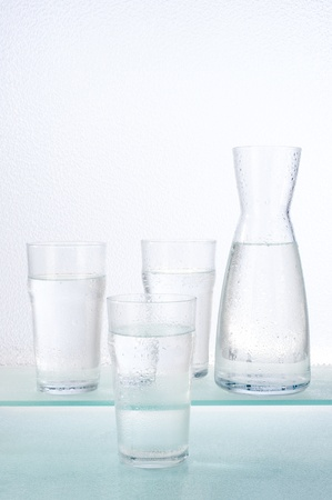 Water glasses and decanter Stock Photo
