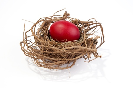Red egg in nest isolated on white  Stock Photo