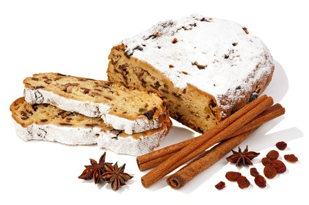Traditional Christmas Stollen on white background photo