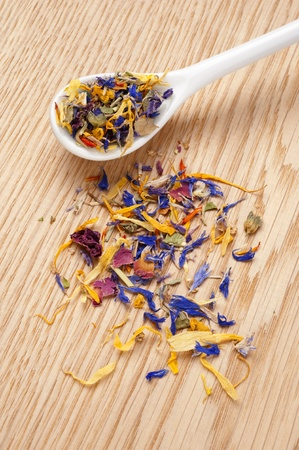 Edible dried flower petals photo