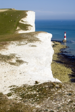 Lighthouse at Beachy Head, East Sussex, England Stock Photo