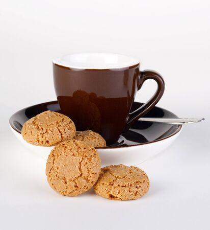 Coffe cup and amaretti