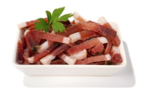 plate with bacon strips Stock Photo