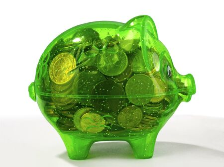 green piggy bank isolated on white  Stock Photo