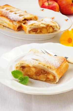 A slice of freshly baked Viennese apple strudel