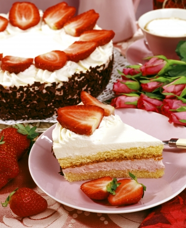 Strawberry Cake and Coffee Cup  photo