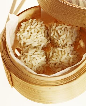 rice balls in bamboo basket photo