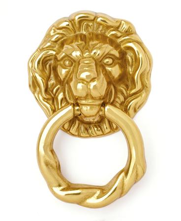 doorknocker: Old style lion head door knocker isolated on white background
