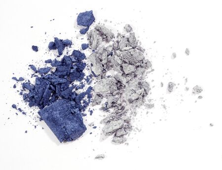 Blue and silver eyeshadow isolated on white background Imagens