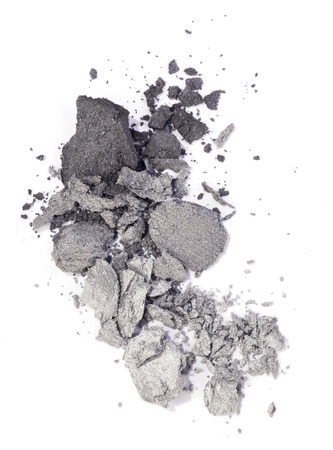 shimmery: Grey and silver eyeshadow isolated on white background