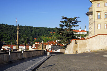 Prague, square in front of the Prague Castle, view to Petrin and Strahov Monastery Stock Photo