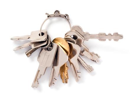 keys on key ring isolated over white background Stock Photo