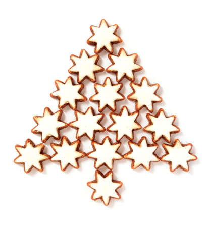 cinnamon stars biscuits isolated over white background Stock Photo