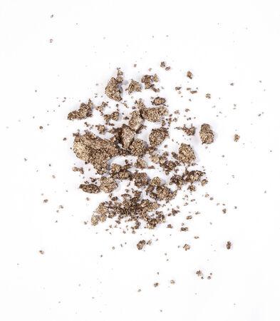 metallic brown or golden eyeshadow isolated on white