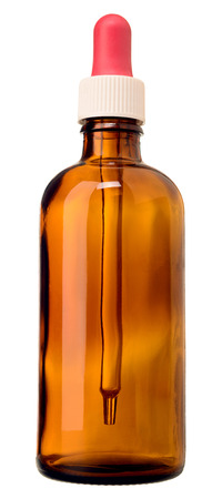 teats: brown medicine glass bottle isolated over white background