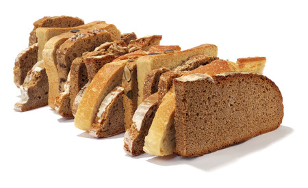 different bread slices isolated over white background