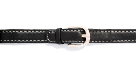 close p: black leather belt isolated over white background Stock Photo
