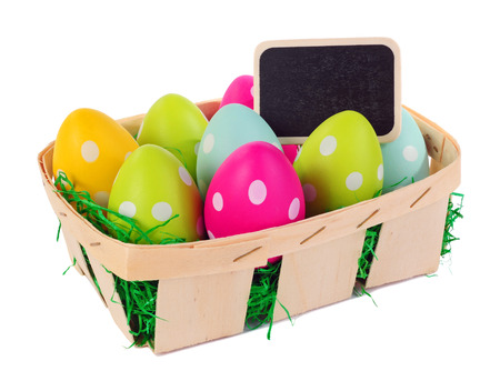 Easter basket with colored eggs and label