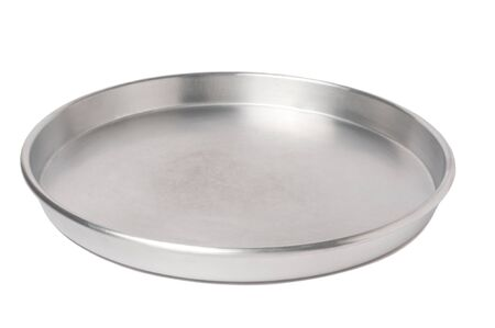 silver tray: empty silver tray isolated over white background