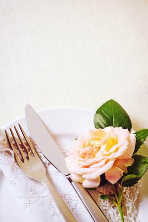 place setting: romantic place setting with rose Stock Photo