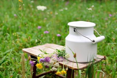 milk churn with flowers in meadow