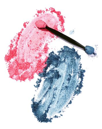 pink and blue eyeshadow isolated on white background Banco de Imagens