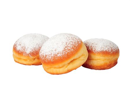 fasching: three doughnuts isolated over white background