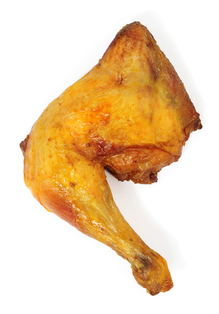 grilled chicken leg isolated over white