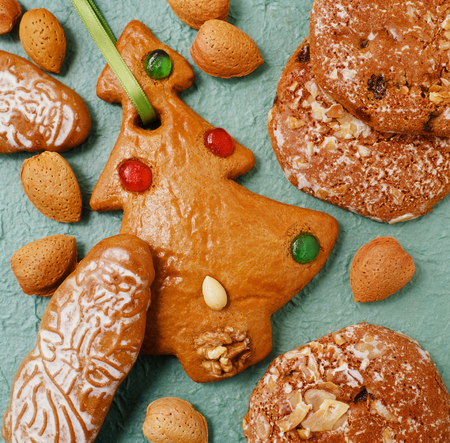 various delicious gingerbread christmas cookies Stock Photo
