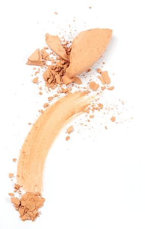 crushed face powder isolated over white background