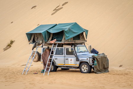 Camping in the Namibian Desert, Namibia.