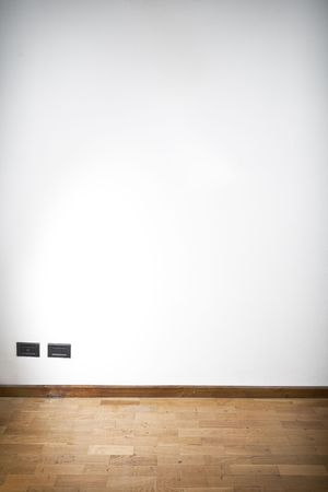 underlay: empty room with white wall and wooden flor