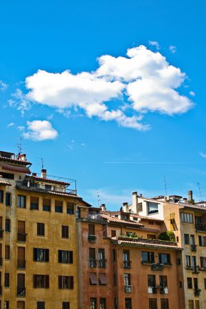 house in Florence with blue sky photo