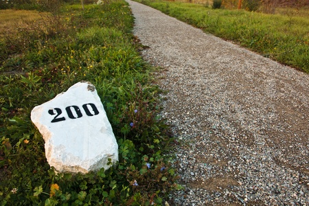 mile: Mile stone in the grass near the road, with print number two hundred sign