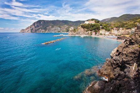 monterosso: Panoramic view of Monterosso. Small village of Cinque Terre on the mediterranean sea