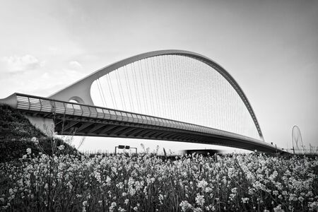 arch of suspended bridge over the highway photo