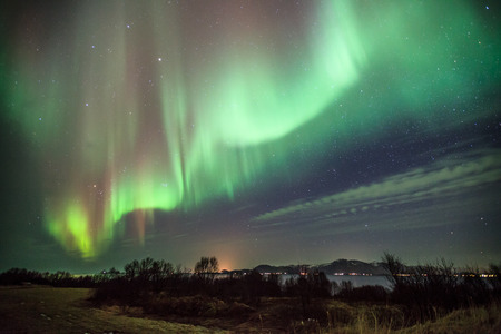 northern lights: horizontal landscape of auroa boealis in norway