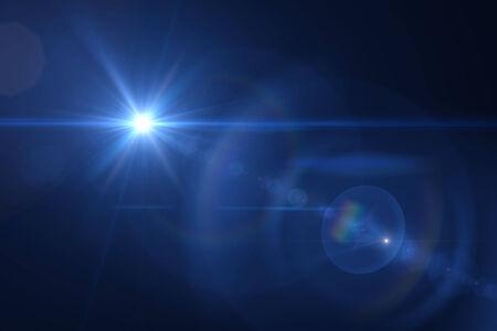 star dust: blue digital lens flare in black background horizontal frame