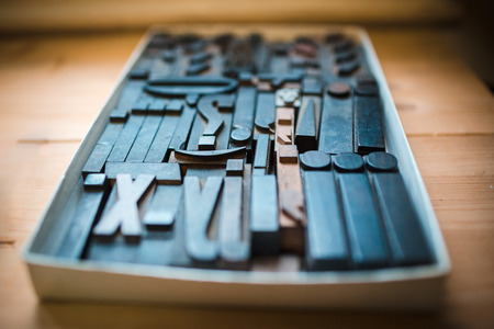 old times: Old wooden printing type.  font characters for craftman typography Stock Photo