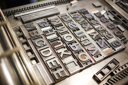 Old typography printing machine with font characters for craftman typography Stockfoto