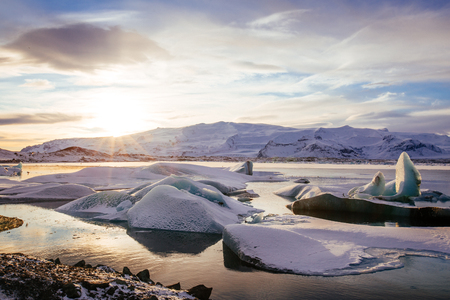 fjallsarlon: Iceland, sunset over Jokulsarlon Glacier Lagoon Stock Photo