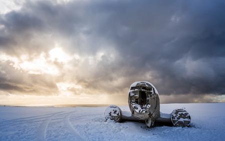 amazing landscape of plane on beach, vik, Iceland Standard-Bild