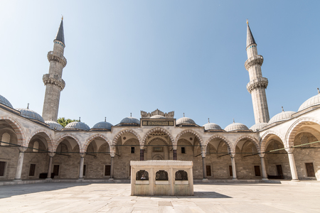 europe eastern: View of the majestic Suleiman Mosque patio. Istanbul, Turkey.