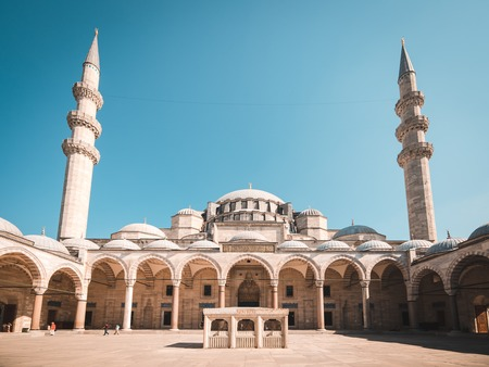 blue mosque: View of the majestic Suleiman Mosque patio. Istanbul, Turkey.
