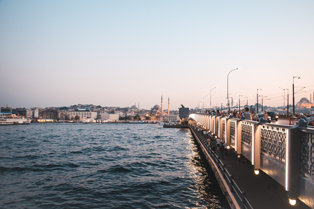 ble: Istanbul skyline form Galata Bridge, Turkey, ble mosque Stock Photo