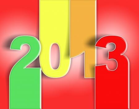 Buon anno nuovo, auguri colorato rosso 2013 - card
