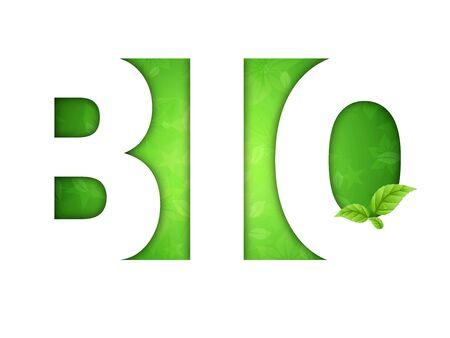 logo bio - sfondo floreale verde con foglie Stock Photo