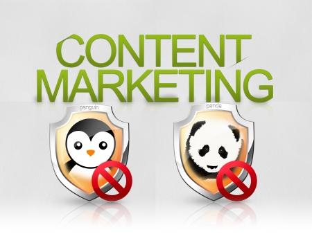 Content marketing, Seo Penguin Panda algoritmi Stock Photo