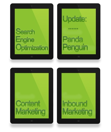 Black tablet with seo, penguin, panda and business concept Stock Photo - 17462089