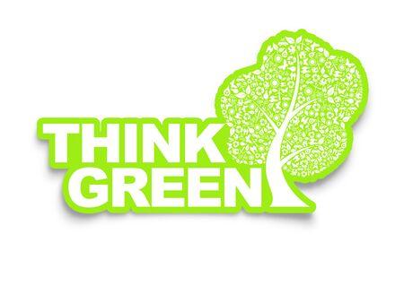think green: Piense ilustraci�n verde, ecol�gico y natural concepto de Ecolog�a Foto de archivo